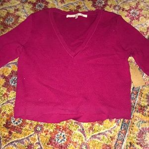 NWT Rachel Roy Small maroon v neck cropped sweater